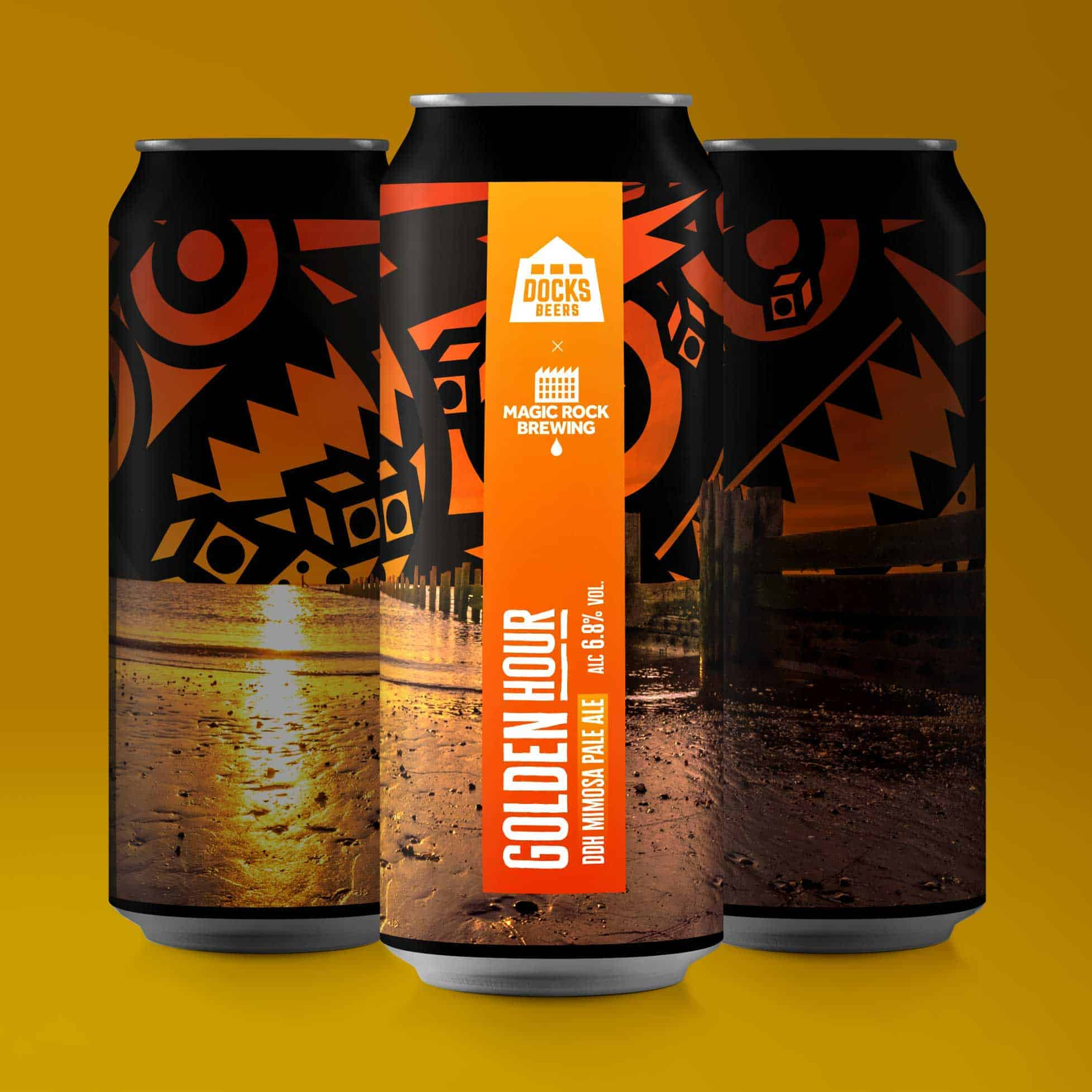Docks Beers x Magic Rock Golden Hour DDH Mimosa Pale Ale cans