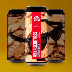 Docks Beers x Vocation Risky Biscuitness Malty Biscuit Brown Ale cans