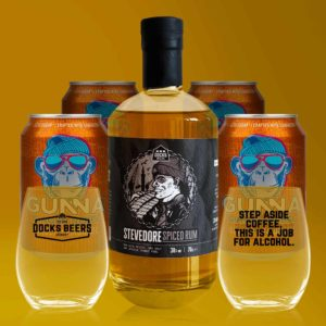 Docks Beers Stevedore Spiced Rum Bundle including 4 x Gunna Ginger Lemonade and 2 x Pint tumbler glasses